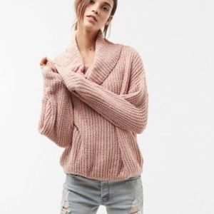 Express chenille cowl neck sweater in blush pink.